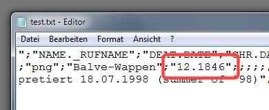 CSV-Export von Ahnenblatt eines Datums ohne Tag