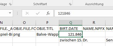 Excel hat den Datumswert falsch interpretiert